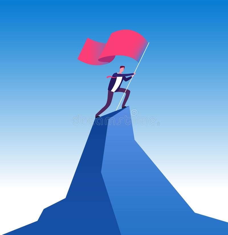 Businessman with flag on mountain peak. Man climbing up with red flag. Goal achievement, leadership and career growth. Vector concept. Man with flag on business vector illustration