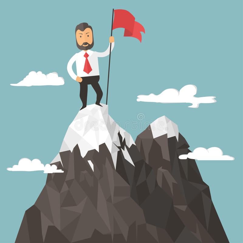 Businessman with flag on a Mountain peak, success. And mission, target and victory, motivation, winner on top. Flat style royalty free illustration