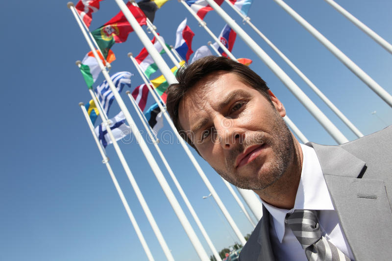 Businessman With Flags. Stock Images