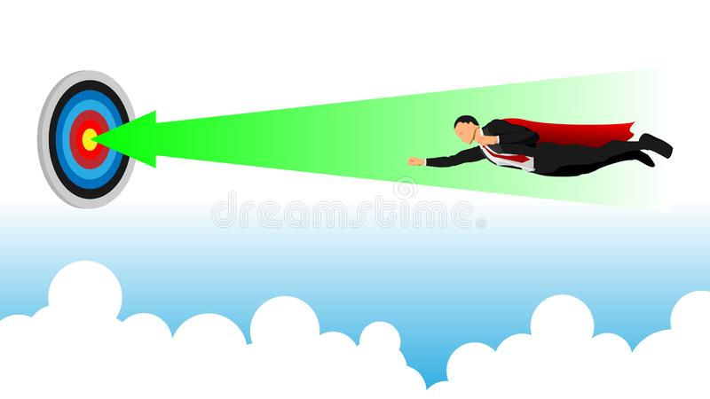 A businessman flies straight towards the focus poin stock illustration