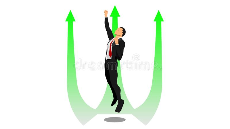 A businessman flies up in the direction of the arrow vector illustration