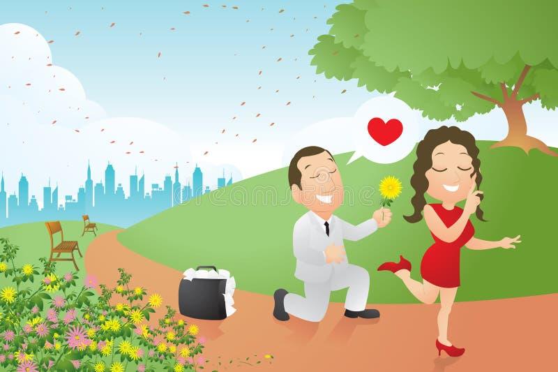 Businessman flirting. A businessman flirting in park vector illustration