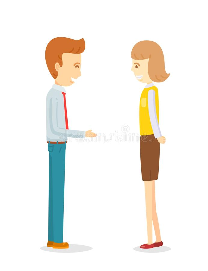 Businessman flirting secretary woman. Office worker talking to colleague, Build up friendship, Office work talking on break time, Happy manager man talking to stock illustration