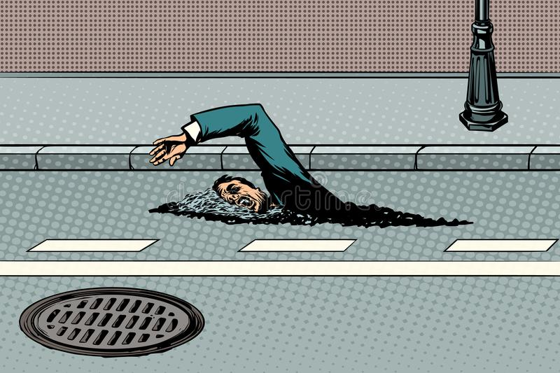 Businessman floating on the road like a river stock illustration