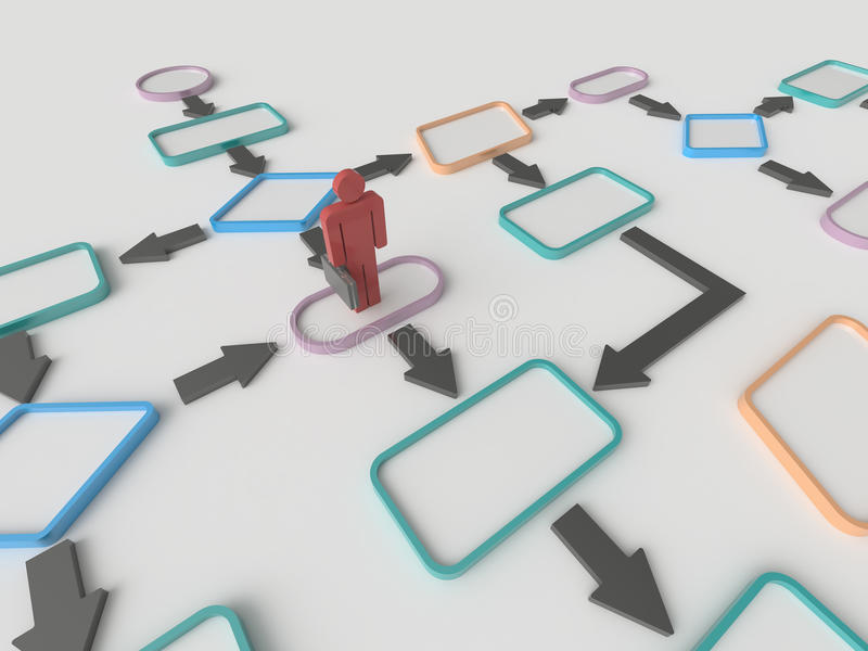 Businessman and Flow Chart Diagram Concept. Abstract background image of a businessman and flowchart diagram on a white floor. Business concept vector illustration