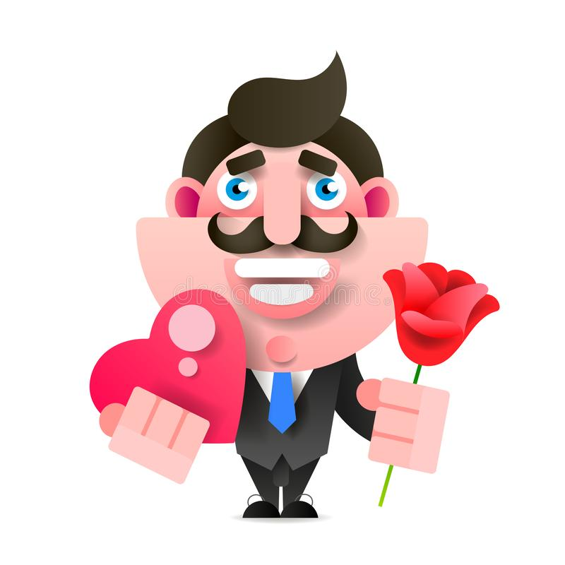 Businessman With Flowers And Gift. Happy Birthday, Valentine s Day. Vector Illustration In Paper Style. Manager Or Businessman With Flowers And Gift. Happy royalty free illustration