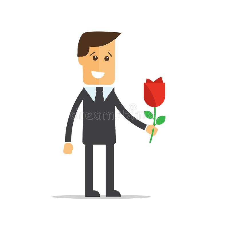 Businessman with flowers. Happy birthday, Valentines Day. Eps10 royalty free illustration