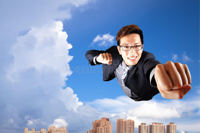 Download Businessman Fly In Sky Like Superman Stock Image - Image: 15937179
