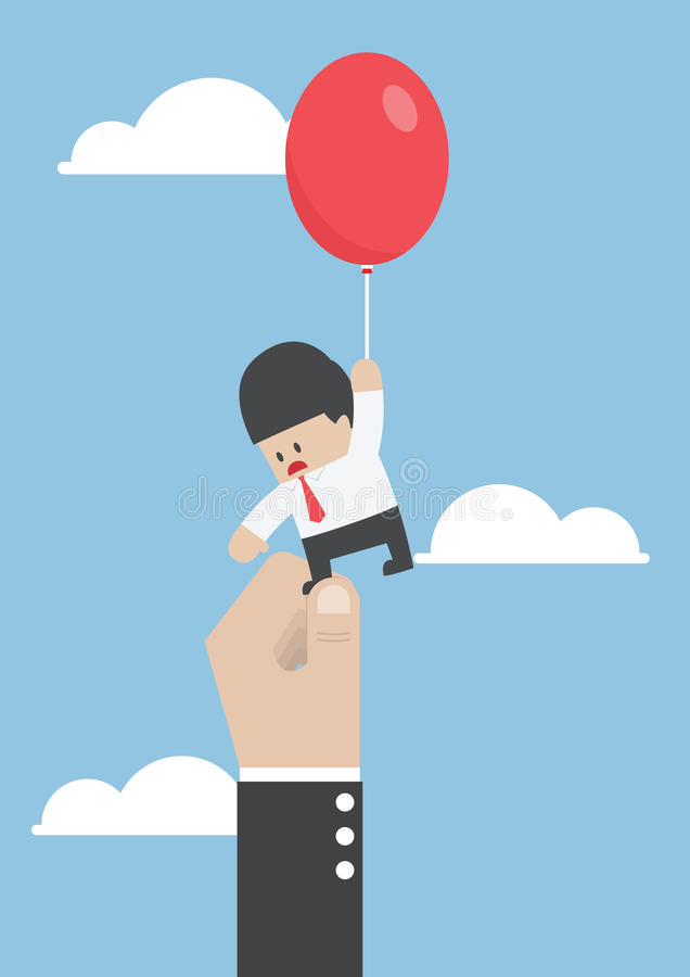 Businessman flying away with balloon but being hindered by large stock illustration