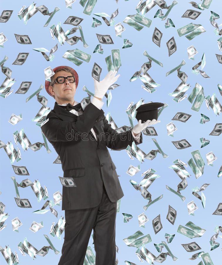 Download Businessman And Flying Dollar Stock Image - Image: 35887781