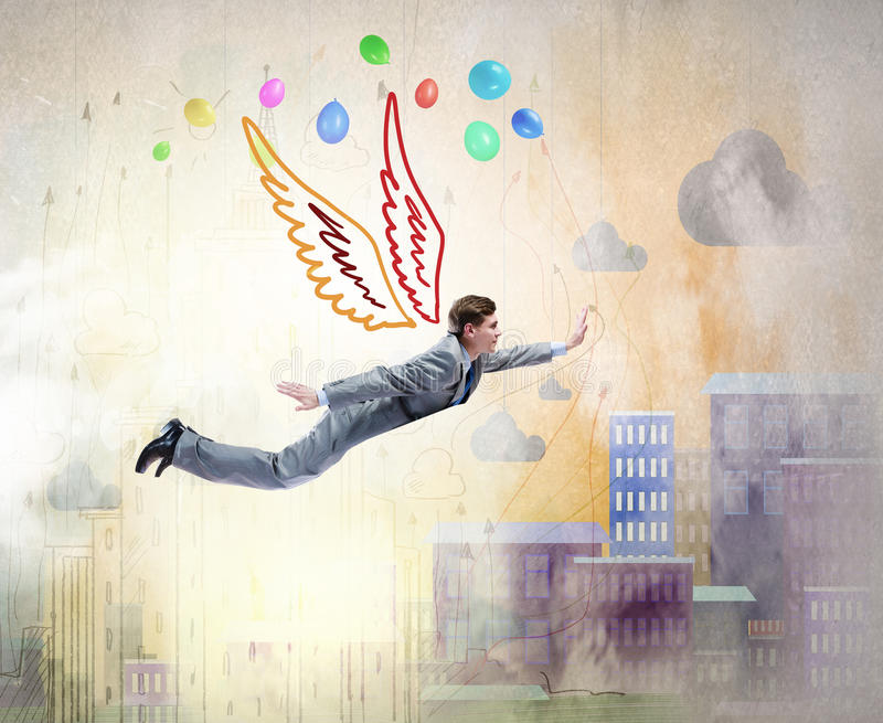 Businessman flying high royalty free stock photography