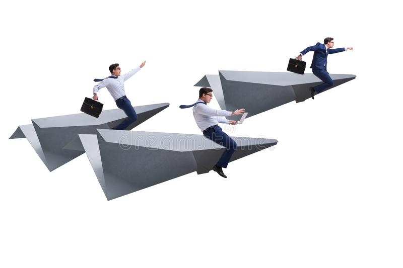 The businessman flying on paper plane in business concept. Businessman flying on paper plane in business concept royalty free stock photo