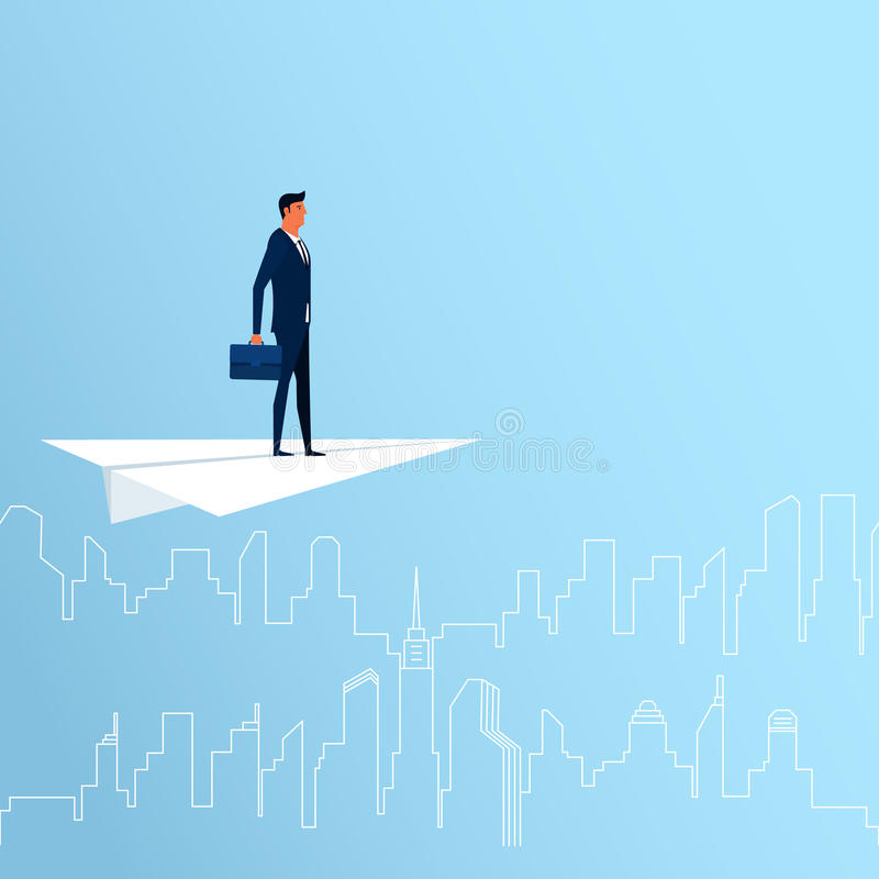 Businessman flying on paper plane looking for success, opportunities, future business trends. Vision concept. Cartoon Vector Illustration vector illustration