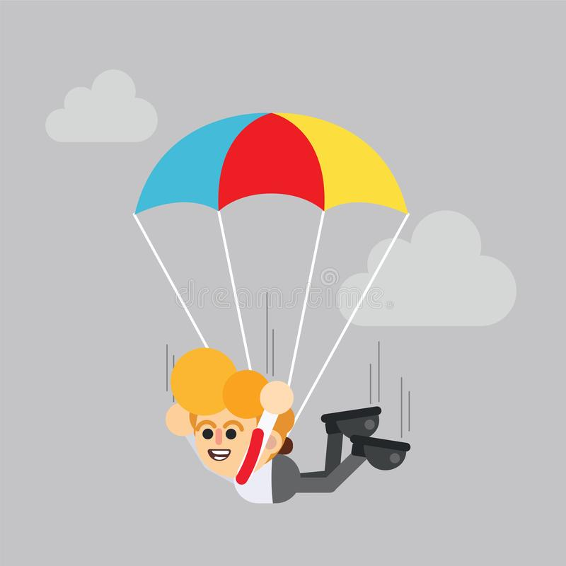 Businessman flying with parachute royalty free illustration