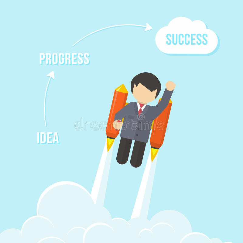 Businessman Flying On the Rocket To Success royalty free illustration