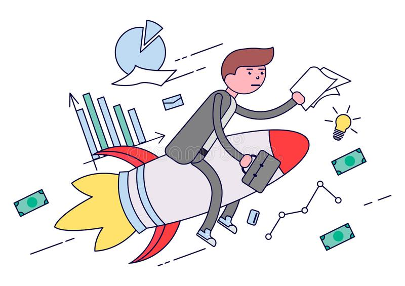 Businessman flying on a rocket to a successful business stock illustration