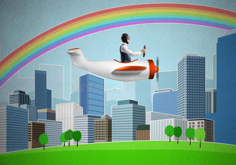 Businessman flying in small propeller plane. Above metropolis. Aviator driving retro airplane on background of city. Cityscape with high skyscrapers and stock image