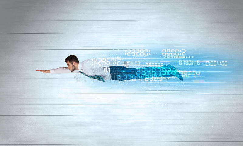 Businessman flying super fast with data numbers left behind. Concept stock images