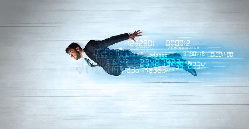 Businessman flying super fast with data numbers left behind. Concept