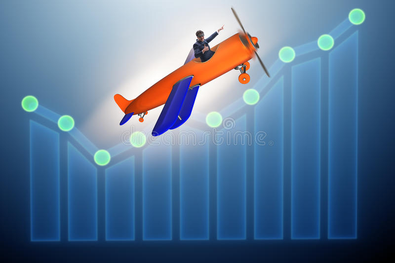 The businessman flying on vintage old airplane royalty free stock images