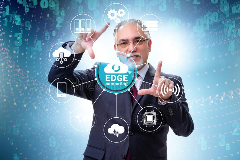 Businessman in fog and edge cloud computing concept. The businessman in fog and edge cloud computing concept stock image