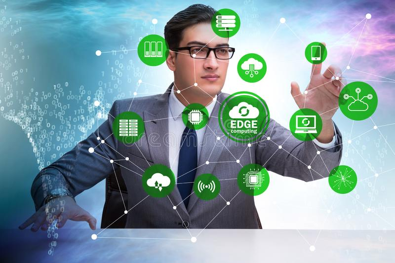 Businessman in fog and edge cloud computing concept. The businessman in fog and edge cloud computing concept royalty free stock photography