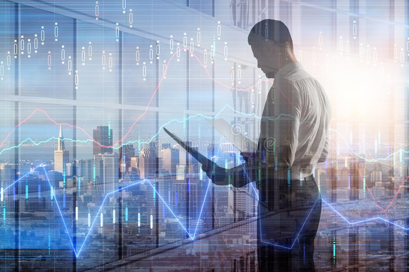 Businessman with forex chart. Side view of attractive young european man on city background with forex chart. Finance and trade concept. Double exposure stock illustration