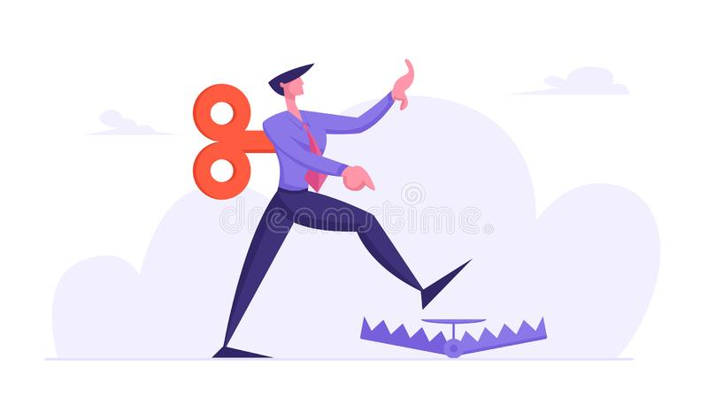 Businessman in Formal Suit with Clockwork Key Mechanism on Back Step into Trap on Ground. Manipulated Business Man. Character Problem Ignorance, Searching stock illustration