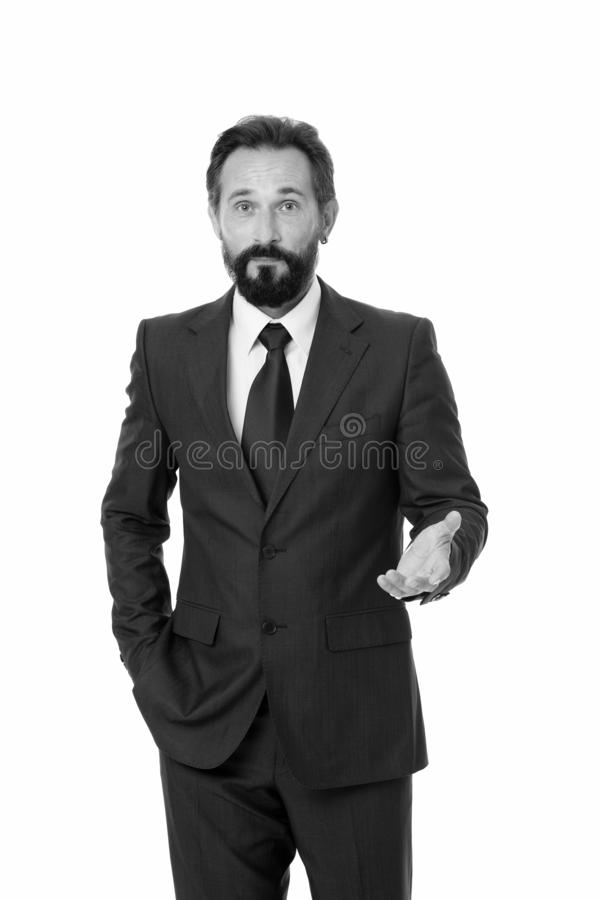 Businessman formal suit mature man isolated white. Businessman bearded handsome entrepreneur. Successful businessman. Concept. Customer service tips improve stock images