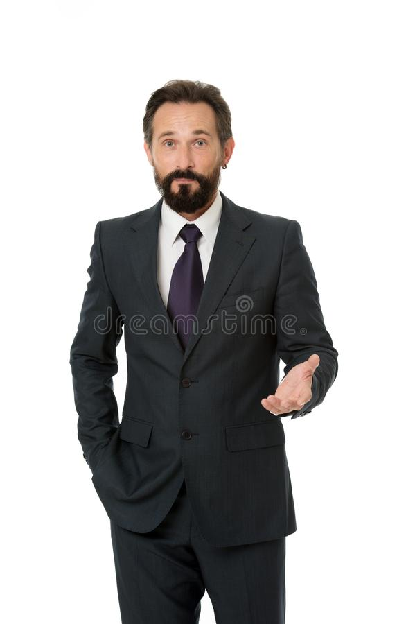 Businessman formal suit mature man isolated white. Businessman bearded handsome entrepreneur. Successful businessman. Concept. Customer service tips improve stock photo