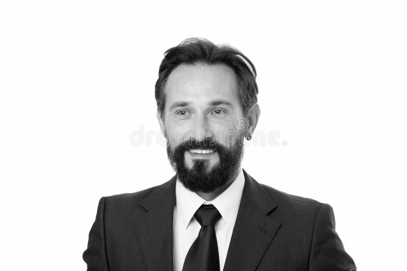 Businessman formal suit mature man isolated white. Businessman bearded handsome entrepreneur. Successful businessman. Concept. Customer service tips improve royalty free stock photo