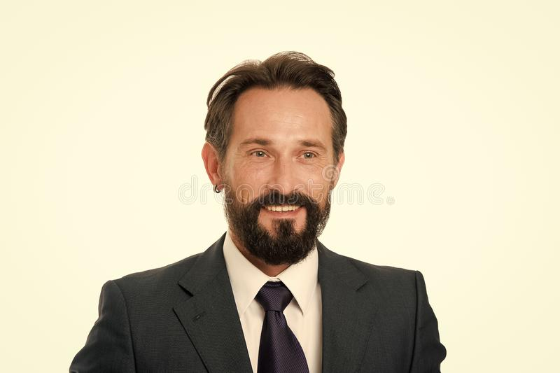 Businessman formal suit mature man isolated white. Businessman bearded handsome entrepreneur. Successful businessman. Concept. Customer service tips improve stock photography