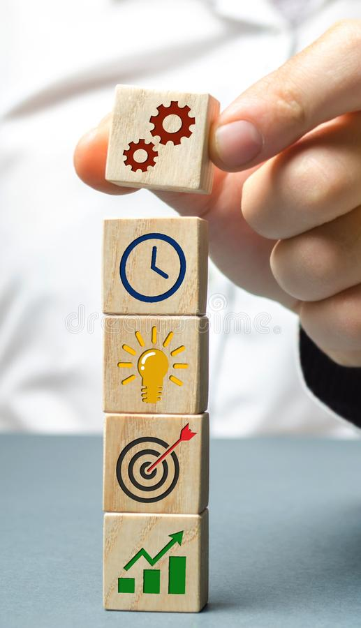 Businessman forms a business strategy. The concept of developing innovative technologies. Action plan, management, research,. Marketing. The goal to increase stock photography