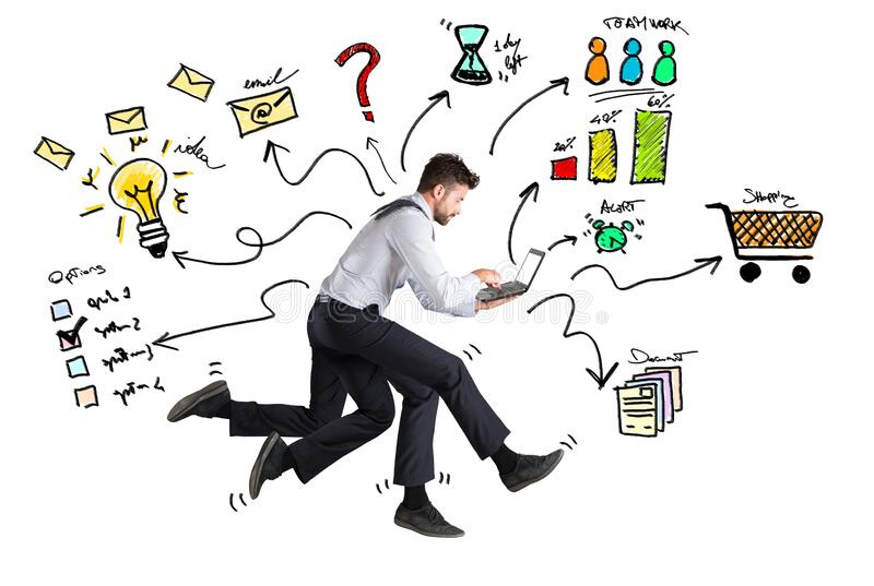 Businessman with four legs runs with too many tasks on laptop. Concept of stress and overwork stock images