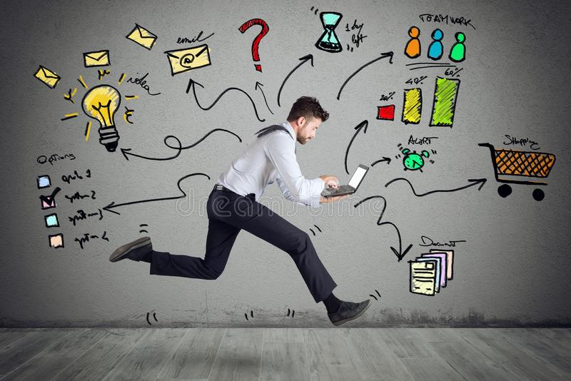Businessman with four legs runs with too many tasks on laptop. Concept of stress and overwork royalty free stock images