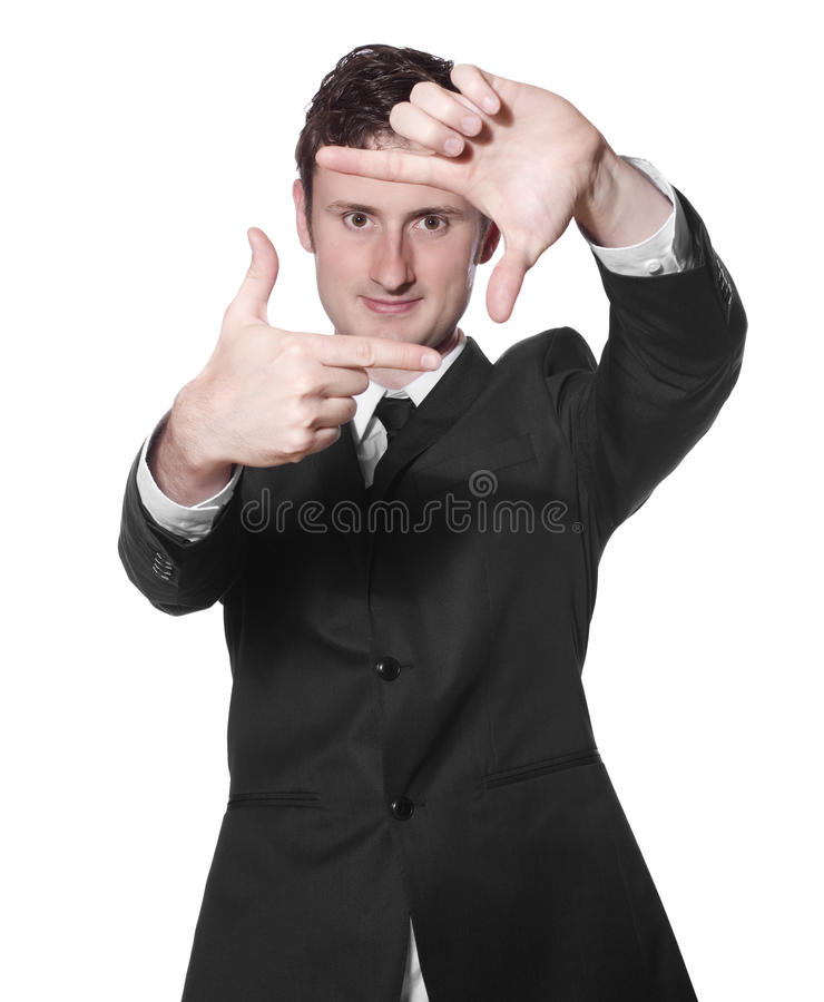 Download Businessman Framing His Face Stock Photo - Image: 13023076