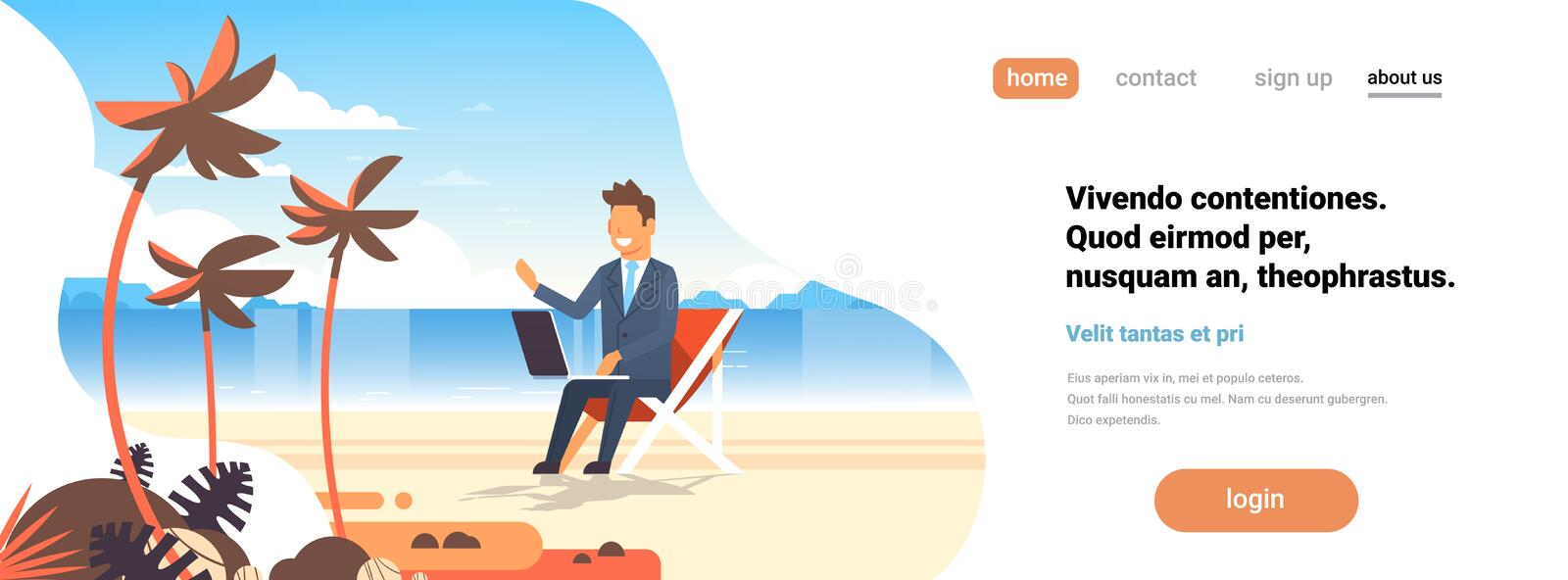 Businessman freelance remote working place beach summer vacation tropical palms island business man suit using laptop stock illustration