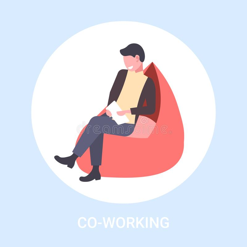 Businessman freelancer sitting at armchair business man using tablet freelance co-working concept male cartoon character royalty free illustration