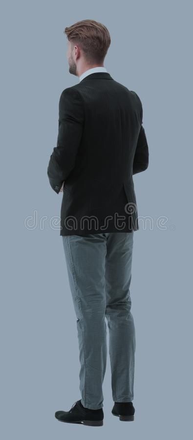 Free Businessman From The Back - Looking At Something Over A White Ba Stock Images - 103630574