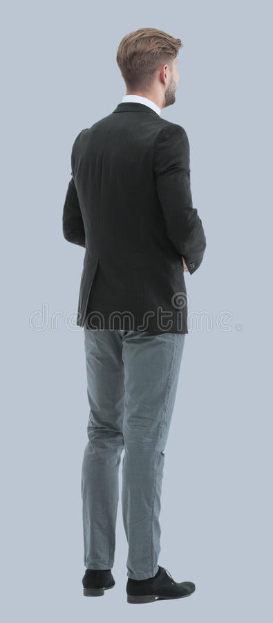 Free Businessman From The Back - Looking At Something Over A White Ba Royalty Free Stock Photos - 94271478