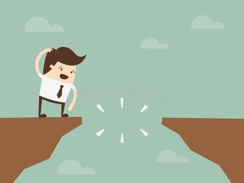 Businessman in front of a gap. And looking into the empty space underneath royalty free illustration