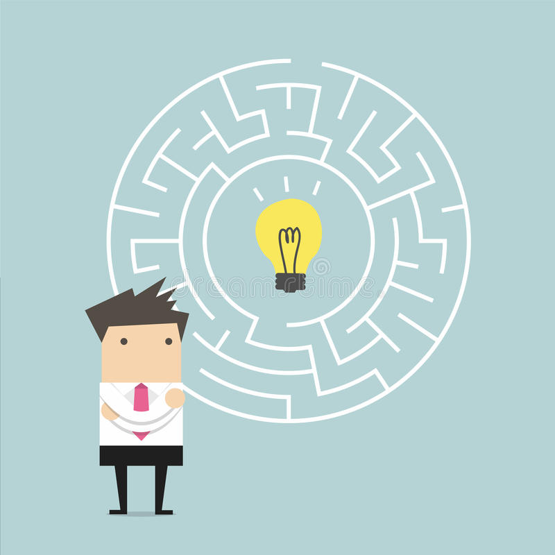 Businessman in front of a huge maze and finding direction to idea bulb stock illustration