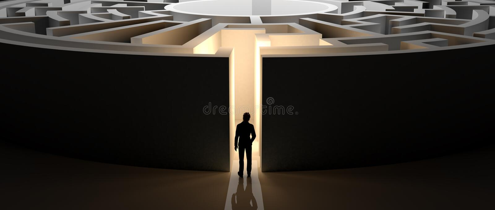 Businessman in front of a maze. Man facing a large round maze with high walls stock illustration