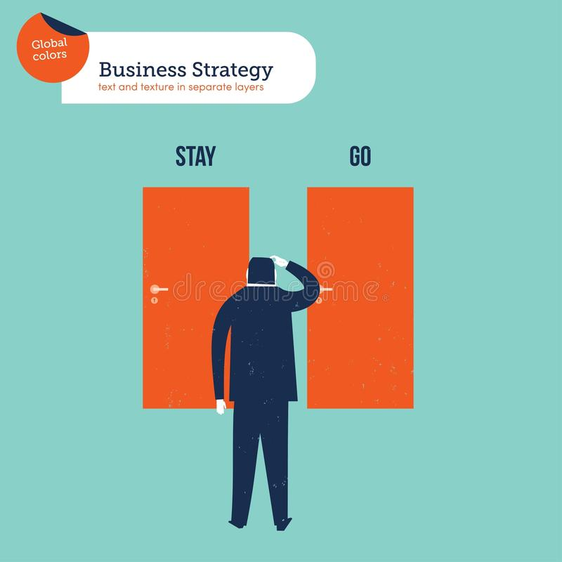 Businessman in front of two doors stay go. Vector illustration Eps10 file. Global colors. Text and Texture in separate layers stock photography