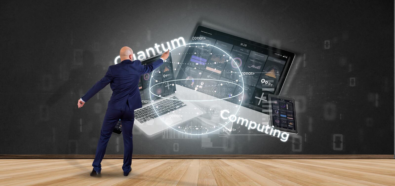 Businessman in front of a wall with Quantum computing concept with qubit and devices 3d rendering. View of Businessman in front of a wall with Quantum computing royalty free stock photo