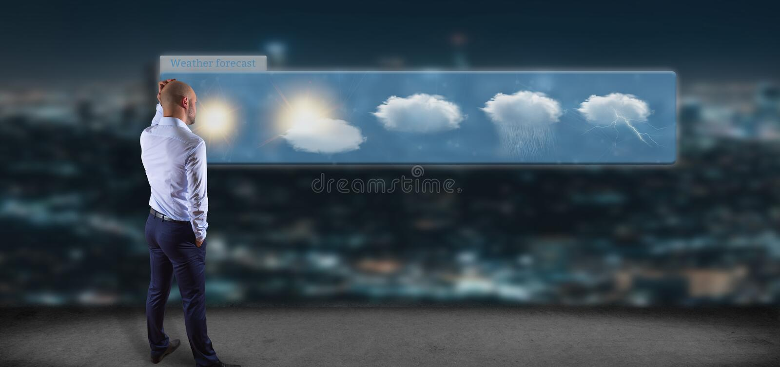 Businessman in front of a Weather Forecast widget. View of a Businessman in front of a Weather Forecast widget royalty free illustration