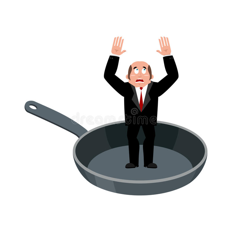 Businessman in frying pan. sinner in cauldron. boss is frying on. Hellfire. Religion is punishment for sins vector illustration