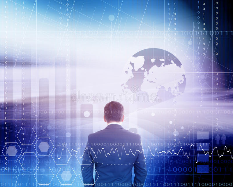 Businessman With Futuristic Background stock photo