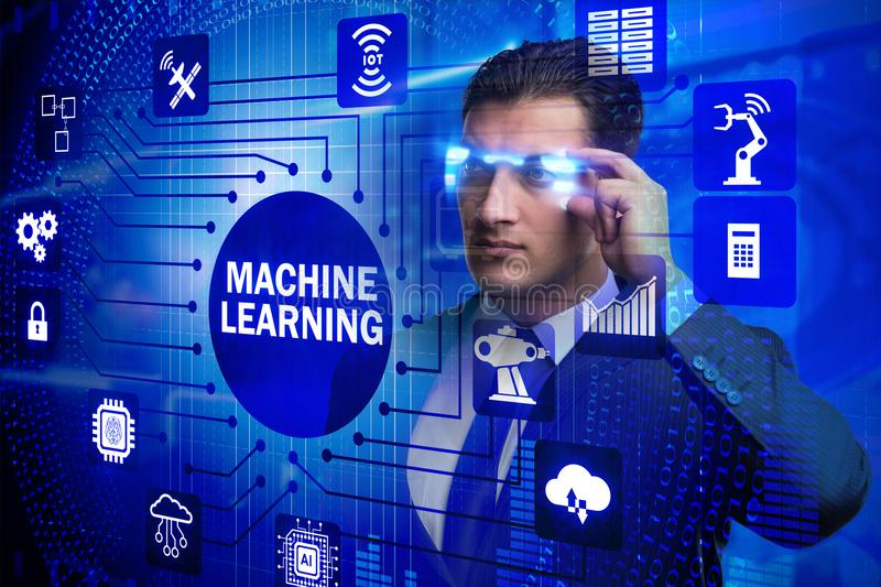 The businessman with futuristic glasses in machine learning concept stock photo
