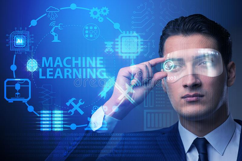 The businessman with futuristic glasses in machine learning concept royalty free stock photo